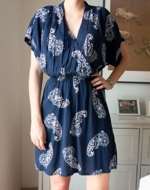 H&M kurzes Kaftan Kleid Paisley blau Gr. 38 wie neu!