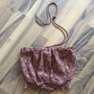 H&M Koronkowy top brąz-brązowy