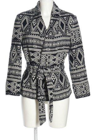 H&M Kurzjacke schwarz-weiß Allover-Druck Casual-Look
