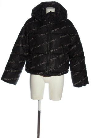 H&M Krótka kurtka czarny Wydrukowane logo W stylu casual