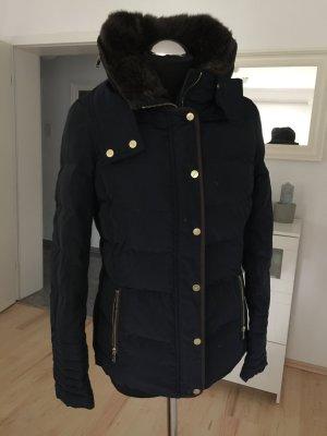 H&M Kurzjacke mit Daunenfüllung Herbst/ Winter blau neu Fellbesatz
