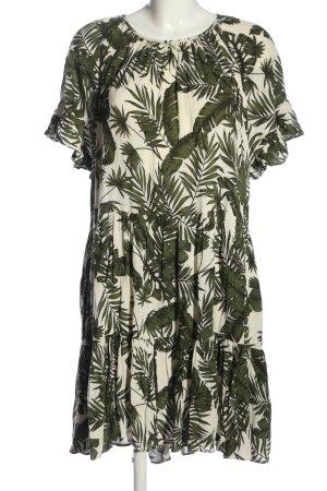 H&M L.O.G.G. A-Linien Kleid wollweiß-khaki Allover-Druck Casual-Look