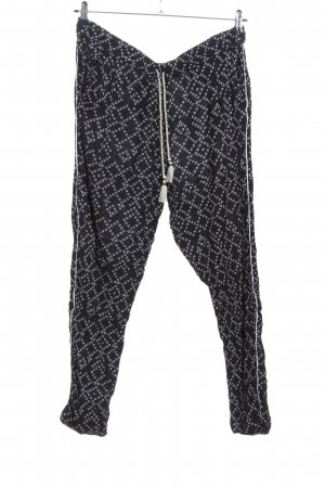 H&M L.O.G.G. Baggy Pants schwarz-hellgrau Allover-Druck Casual-Look