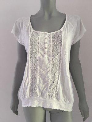 H&M L.O.G.G. Bluse T-Shirt Spitze weiß Gr. M