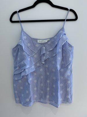 H&M L.O.G.G. Haut à fines bretelles blanc-bleu acier coton