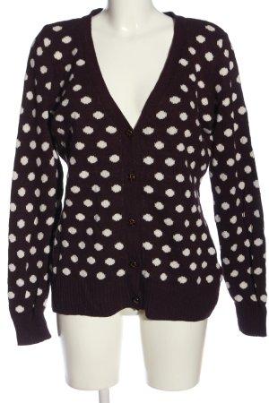H&M L.O.G.G. Kardigan fiolet-biały Wzór w kropki W stylu casual