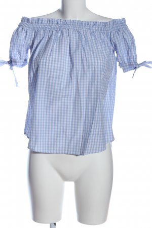 H&M L.O.G.G. Carmen-Bluse blau-weiß Karomuster Casual-Look