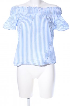 H&M L.O.G.G. Carmen blouse blauw-wit gestreept patroon casual uitstraling