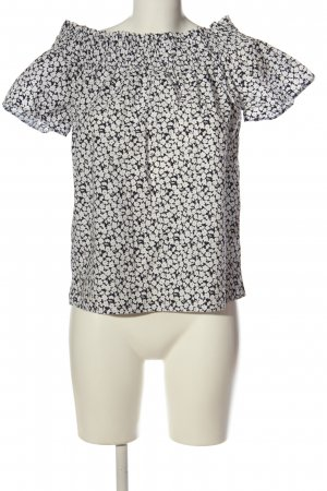 H&M L.O.G.G. Carmen-Bluse weiß-schwarz Allover-Druck Casual-Look