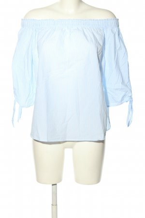 H&M L.O.G.G. Carmen-Bluse türkis-weiß Streifenmuster Casual-Look
