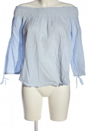 H&M L.O.G.G. Carmen-Bluse blau-wollweiß Streifenmuster Casual-Look