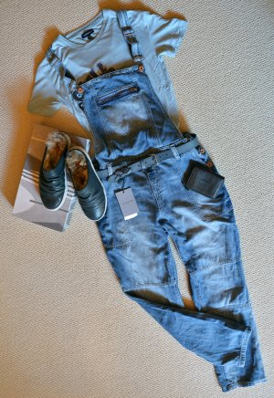 H&M L.o.g.g. coole Latzhose Jeans Usedlook Boyfriend Denim