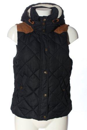 H&M L.O.G.G. Piumino smanicato nero-marrone motivo trapuntato stile casual