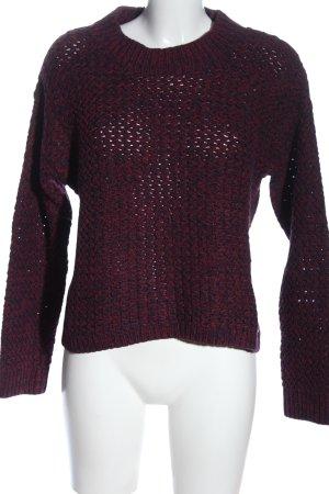 H&M L.O.G.G. Sweter z grubej dzianiny niebieski-czerwony Siateczkowy wzór