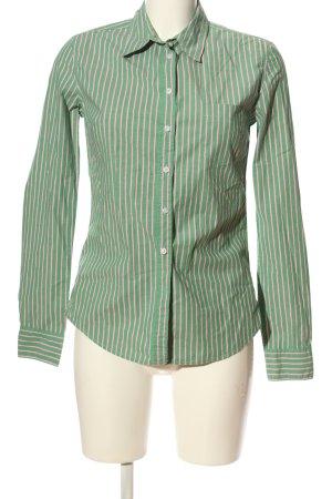 H&M L.O.G.G. Hemd-Bluse grün-wollweiß Streifenmuster Casual-Look