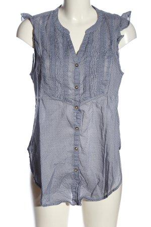 H&M L.O.G.G. Hemd-Bluse blau-weiß Allover-Druck Business-Look