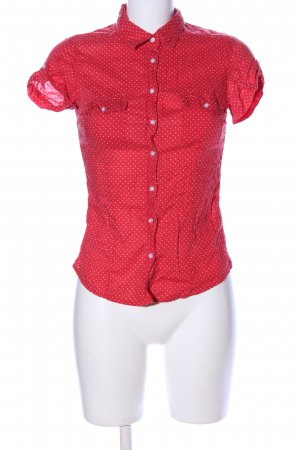 H&M L.O.G.G. Hemd-Bluse rot-weiß Punktemuster Business-Look