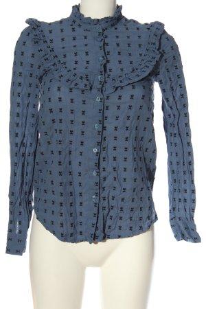 H&M L.O.G.G. Hemd-Bluse blau-schwarz Allover-Druck Casual-Look