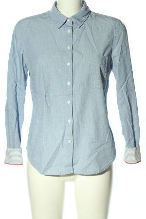 H&M L.O.G.G. Hemd-Bluse blau-weiß Webmuster Casual-Look