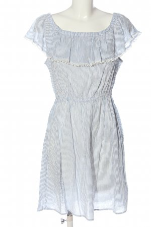 H&M L.O.G.G. Hippiekleid weiß-blau Streifenmuster Casual-Look