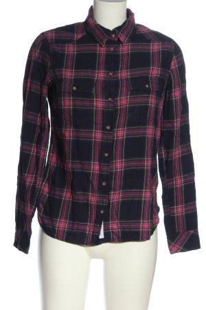 H&M L.O.G.G. Holzfällerhemd schwarz-pink Karomuster Casual-Look