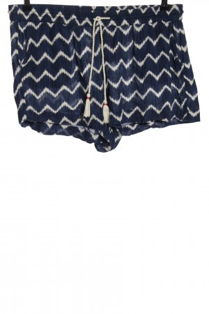 H&M L.O.G.G. Hot Pants blau-wollweiß grafisches Muster Casual-Look