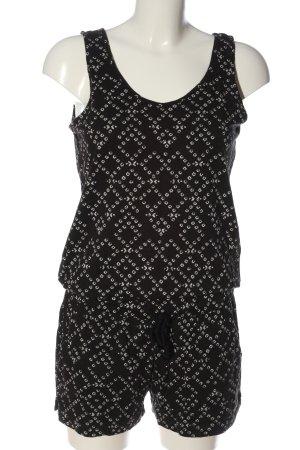 H&M L.O.G.G. Jumpsuit schwarz-weiß Allover-Druck Casual-Look