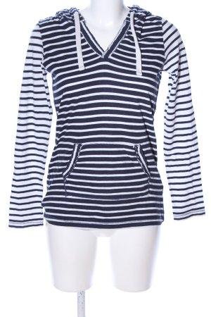 H&M L.O.G.G. Kapuzenpullover weiß-blau Streifenmuster Casual-Look