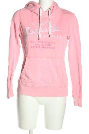 H&M L.O.G.G. Kapuzensweatshirt pink-weiß Schriftzug gedruckt Casual-Look
