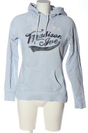 H&M L.O.G.G. Kapuzensweatshirt blau-weiß Schriftzug gedruckt Casual-Look