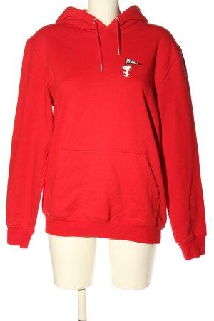 H&M L.O.G.G. Kapuzensweatshirt rot-weiß Schriftzug gedruckt Casual-Look