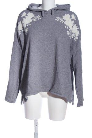H&M L.O.G.G. Kapuzensweatshirt hellgrau-weiß Blumenmuster Casual-Look