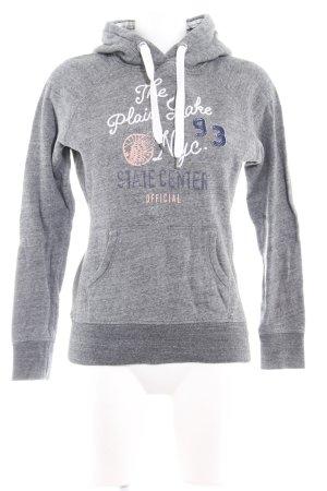 H&M L.O.G.G. Kapuzensweatshirt grau Schriftzug gestickt Textil-Applikation