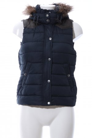 H&M L.O.G.G. Capuchon vest blauw quilten patroon casual uitstraling