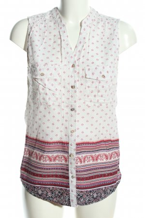 H&M L.O.G.G. Kurzarm-Bluse weiß-pink abstraktes Muster Casual-Look