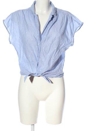 H&M L.O.G.G. Kurzarm-Bluse blau-weiß Allover-Druck Casual-Look