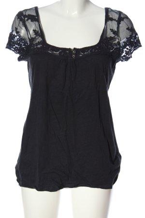 H&M L.O.G.G. Kurzarm-Bluse schwarz Casual-Look