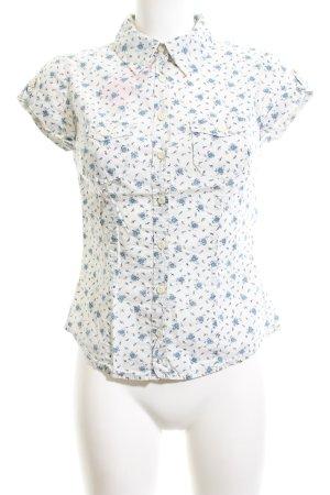 H&M L.O.G.G. Kurzarm-Bluse wollweiß-blau Allover-Druck Business-Look