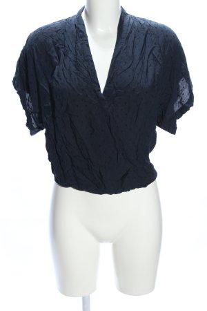 H&M L.O.G.G. Kurzarm-Bluse blau Punktemuster Casual-Look