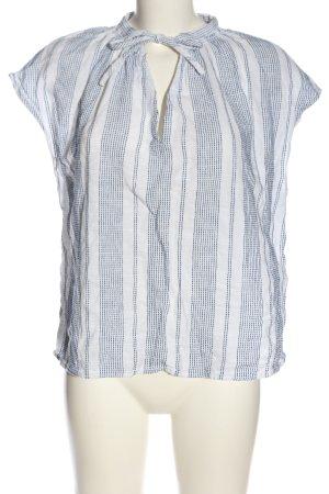 H&M L.O.G.G. Kurzarm-Bluse weiß-blau Allover-Druck Casual-Look