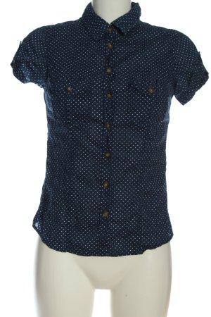 H&M L.O.G.G. Kurzarmhemd blau-weiß Allover-Druck Business-Look