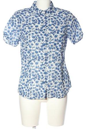 H&M L.O.G.G. Kurzarmhemd weiß-blau Allover-Druck Casual-Look