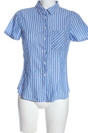 H&M L.O.G.G. Kurzarmhemd blau-weiß Streifenmuster Casual-Look