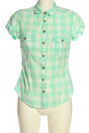 H&M L.O.G.G. Short Sleeve Shirt turquoise-natural white check pattern