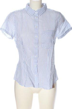 H&M L.O.G.G. Kurzarmhemd weiß-blau Streifenmuster Casual-Look