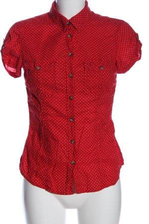 H&M L.O.G.G. Kurzarmhemd rot-weiß Allover-Druck Business-Look
