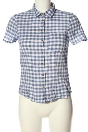 H&M L.O.G.G. Kurzarmhemd blau-weiß Allover-Druck Casual-Look