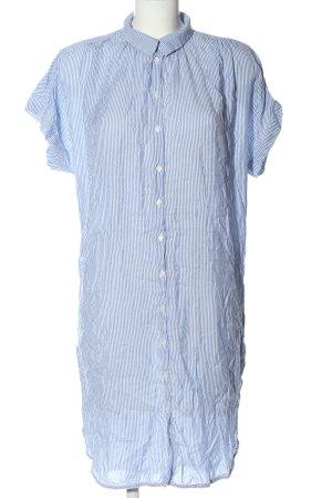 H&M L.O.G.G. Kurzarmkleid weiß-blau Streifenmuster Elegant