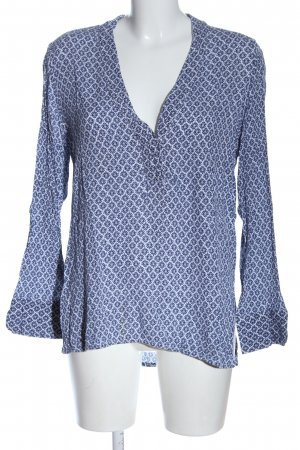 H&M L.O.G.G. Langarm-Bluse blau-weiß Allover-Druck Casual-Look