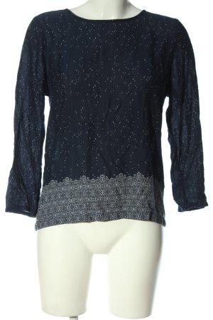 H&M L.O.G.G. Langarm-Bluse blau-weiß abstraktes Muster Casual-Look